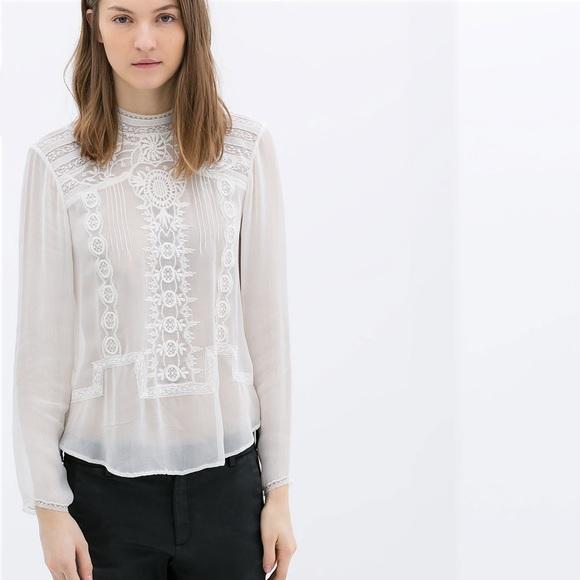ad96b2684b992 Zara Tops | Pintuck Lace Sheer High Neck Back Button Too | Poshmark